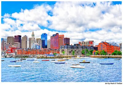Boats and the skyline of Boston Harbor Print by Mark Tisdale - A Beautiful Afternoon in Boston