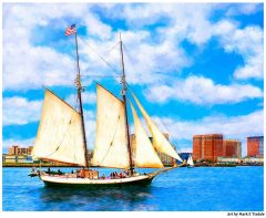 Classic Tall Ship Sailboat in Boston Harbor Print by Mark Tisdale