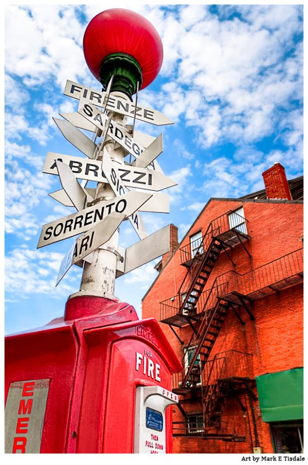 Little Italy Street Sign Print by Mark Tisdale - Boston Massachusetts