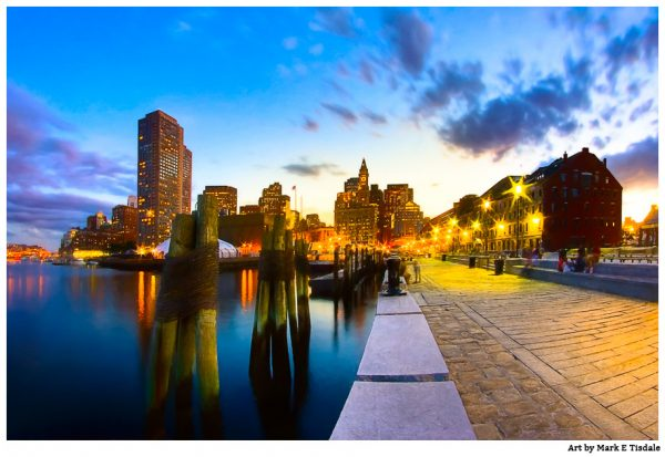 Long Wharf on the Boston Waterfront at Dusk - Print by Mark Tisdale