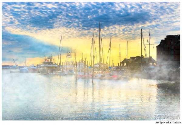 Golden Morning on the Boston Waterfront - Marina Print by Mark Tisdale