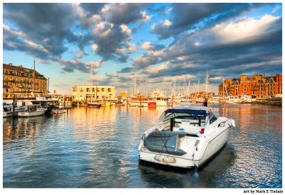 Boston Seaside As the sun sets - Print by Mark Tisdale