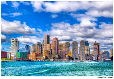 Boston Skyline Print by Mark Tisdale - View from the water on Boston Harbor