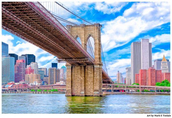 Brooklyn Bridge Manhattan skyline print by Mark Tisdale