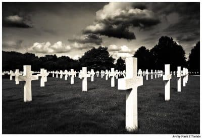 The Cambridge American Cemetery WWII - Black and white print by Mark Tisdale