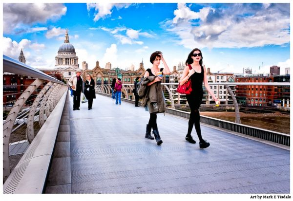 Candid scene of women on the Millennium bridge against the London Skyline - Print by Mark Tisdale