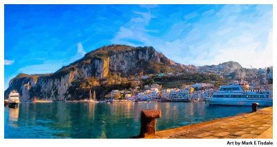 Isle of Capri Harbor - Marina Grande - Italy Panorama - Print by Mark Tisdale