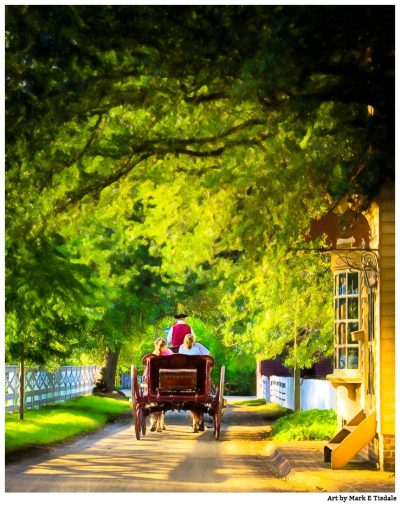 Carriage ride through golden sunlight in Colonial Williamsburg Virginia - Print by Mark Tisdale