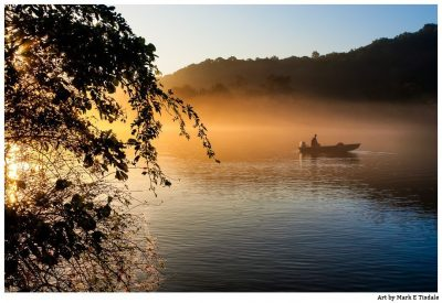 Fishing boat on the Chattahoochee River in golden morning light - Roswell Georgia Print by Mark Tisdale