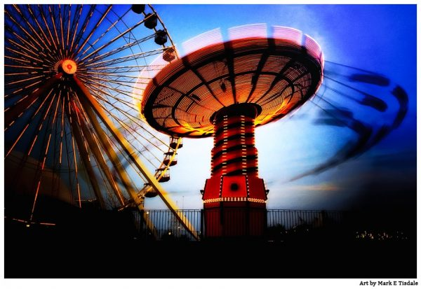 Cassic amusement park swings and ferris wheel - Chicago Navy Pier Print by Mark Tisdale