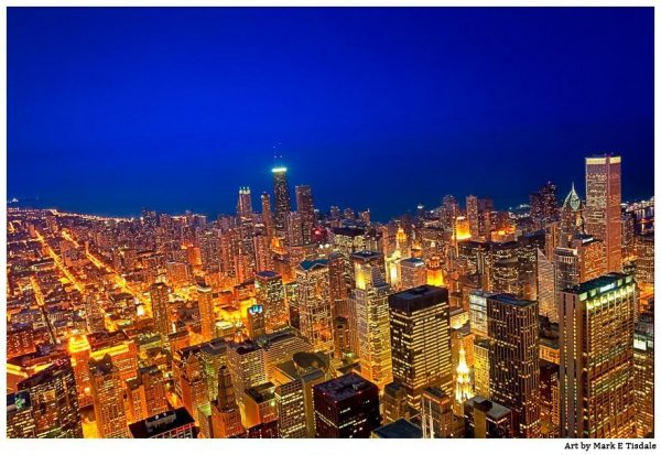 Chicago At Night Print by Mark Tisdale - Aerial View of the City