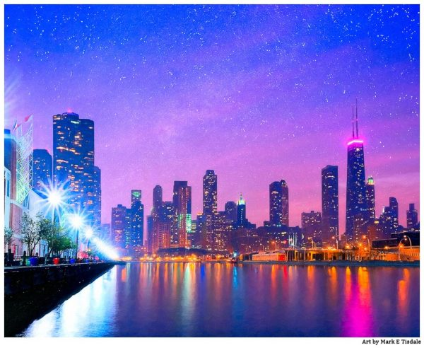 Chicago Waterfront at Dusk Art by Mark Tisdale