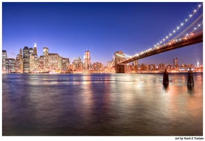 Manhattan - City Lights skyline at night -  Print by Mark Tisdale