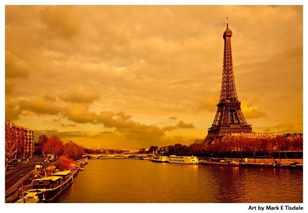 Eiffel Tower on the Golden River Seine - Classic Paris Print by Mark Tisdale