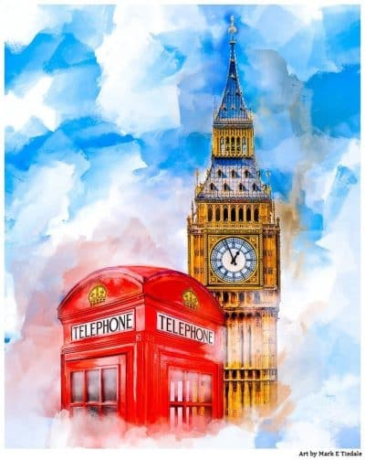 Big Ben & A British Telephone Booth - Classic London Art Print by Mark Tisdale