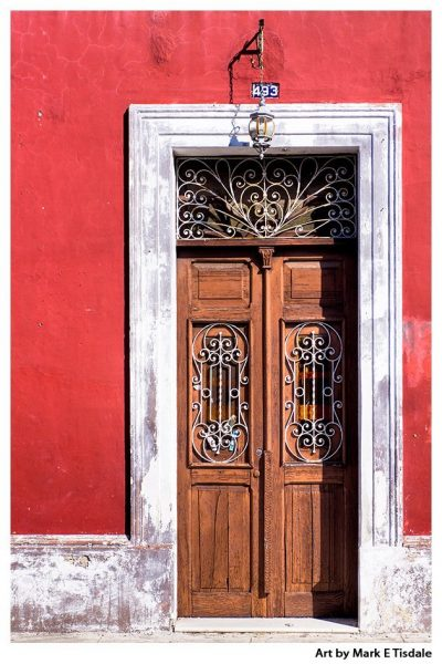 Classic Old Wooden Door - Colorful Mexican Architecture Print by Mark Tisdale