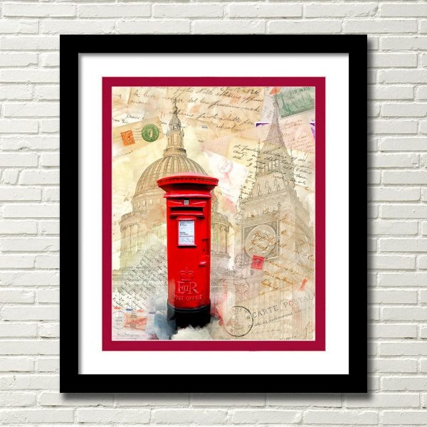 Classic Red British Post-Box - London Framed Wall art by Mark Tisdale
