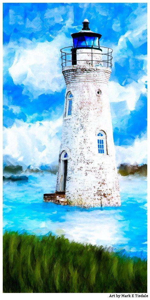 Cockspur Island Lighthouse Art Print by Georgia Artist Mark Tisdale
