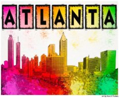 Colorful Atlanta Skyline Art Print by Georgia artist Mark Tisdale