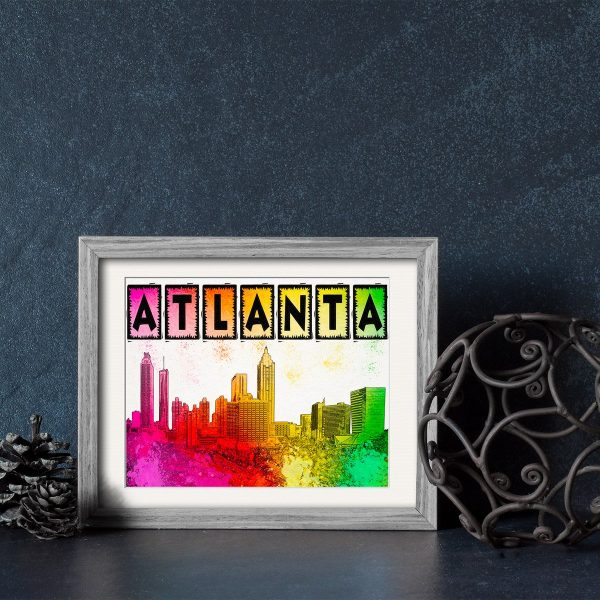Colorful Atlanta Skyline Framed Print by Mark Tisdale