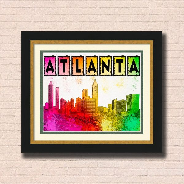 Colorful Atlanta Skyline Wall Art by Mark Tisdale