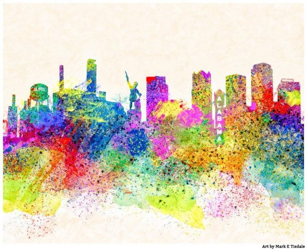 Colorful Birmingham Skyline - Alabama Art Print by Mark Tisdale
