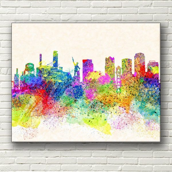 Colorful Birmingham Skyline Canvas Print - Alabama Cities