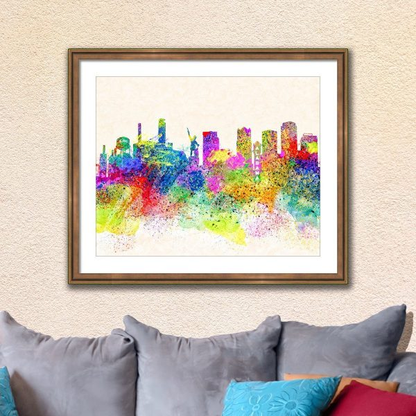 Colorful Birmingham Skyline Framed Wall Art - Alabama cities