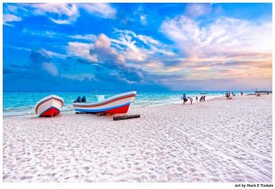Playa Del Carmen - Mexican Beach Wall Art of Colorful Boats