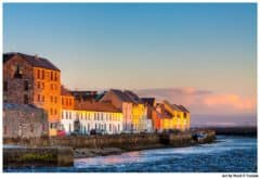 Colorful Houses On Galway Waterfront at Sunset -Colorful Galway Print by Mark Tisdale
