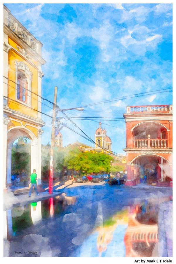 Streets of Colorful Granada Nicaragua - Pritn by Mark Tisdale