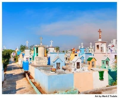 Colorful Mexican Cemetery in the Yucatan - Merida Cemetery Print by Mark Tisdale