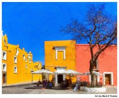 Colorful Mexico Scene in Puebla - Print by Mark Tisdale