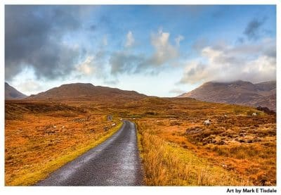 Winding road through a Connemara Landscape - Ireland Print by Mark Tisdale