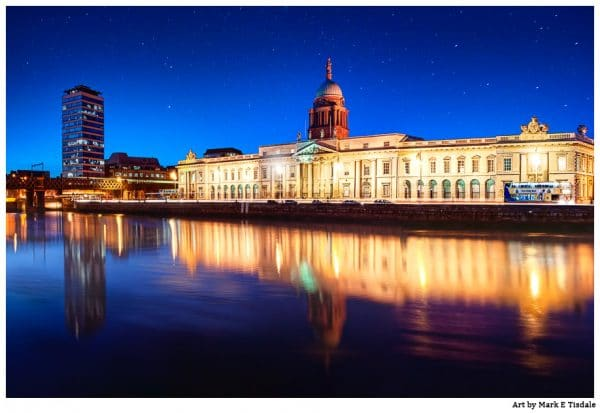 Custom House Quay in Dublin Ireland at night - Print by Mark Tisdale