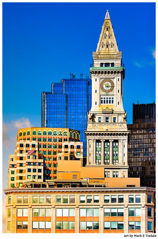 Boston Clock tower - Custom House Tower and the Skyline - Print by Mark Tisdale