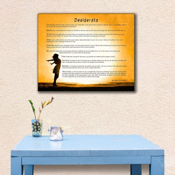 Desiderata Poem Wrapped Canvas Print - Inspirational Art For Sale