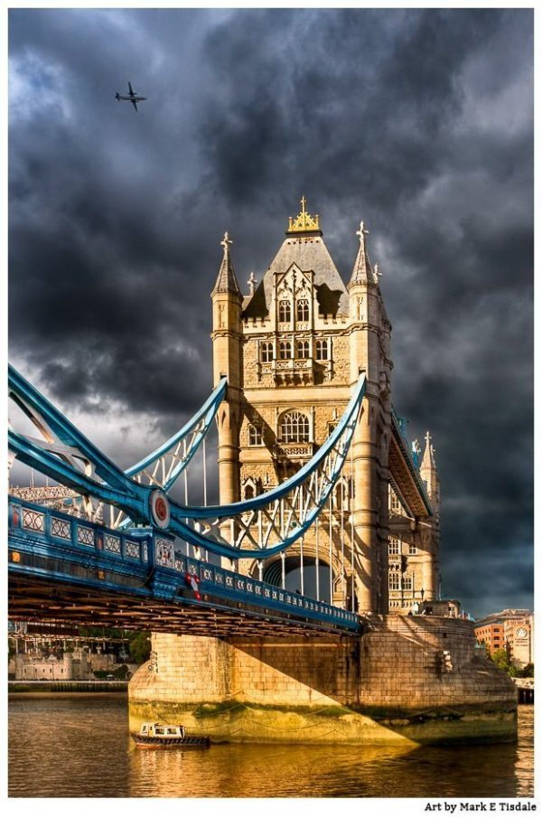 London's Tower Bridge With Dramatic Light And Skies - Print By Mark Tisdale