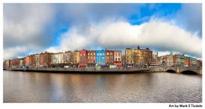 River Liffey Panorama Art Print - Colorful Dublin Ireland Print by Mark Tisdale