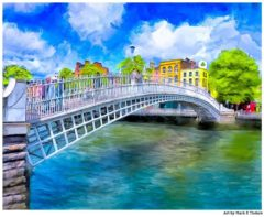 Dublin Landmark - Ha'Penny Bridge Print by Mark Tisdale