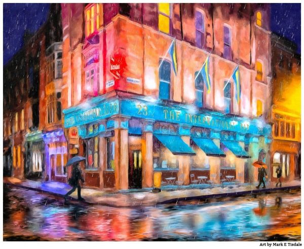 Dublin Pub Art  by Mark Tisdale - International Bar In The Rain