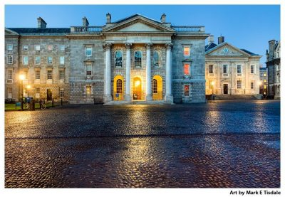 Trinity College chapel as night falls on Dublin Ireland - Print by Mark Tisdale