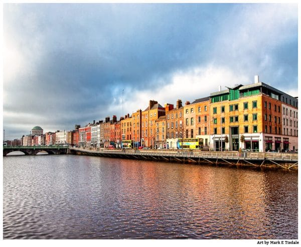 Dublin Waterfront on Ormond Quay - Ireland Print by Mark Tisdale