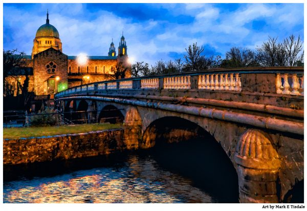 Galway Cathedral as dusk Falls  Print by Mark Tisdale - Vintage Irish Style Art