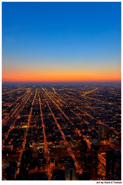 Dusk Over Chicago - Aerial View of the City Lights - Print by Mark Tisdale