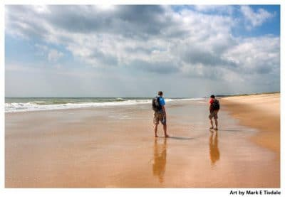Friends walking on East Hampton Beach - Print by Mark Tisdale