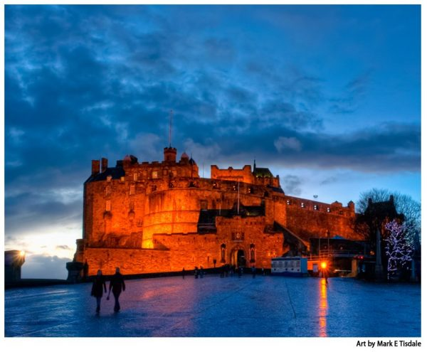 Edinburgh Castle At Dusk Art by Mark Tisdale