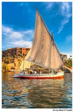 Graceful Egyptian Felucca - traditional sailboat near Aswan - Print by Mark Tisdale