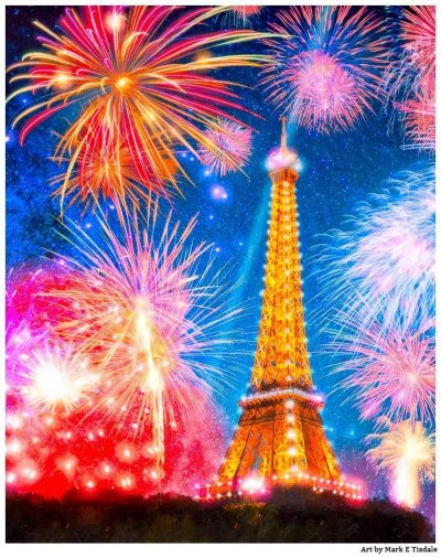 Eiffel Tower At Night With Fireworks - Print by Mark Tisdale