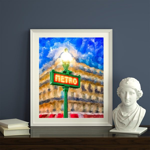 Evening In Paris - Metro Sign Framed Print